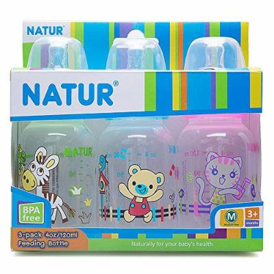 Nature Feeding Bottle (Pack 3) 4 Oz./120ml. BPA Free Size M for 3+ Months
