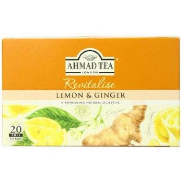 Ahmad Tea Sachet Infusion Foil-Enveloped Teabags, Lemon and Ginger, 20 Count (Pack of 6)