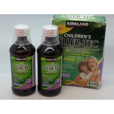 Kirkland Signature Children's Aller-tec Fast Relief Indoor/ Outdoor Allergies for 24 Hour Cetirizine Hydrochloride 1 Mg/ml Antihistamine, Grape Flavor- 2 Pack of 8 Oz Bottles