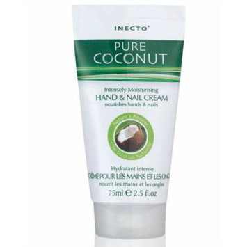Inecto Pure Coconut 100% Intensely Moisturizing Hand & Nail Cream 75ml (2.5 Oz) , Product of UK