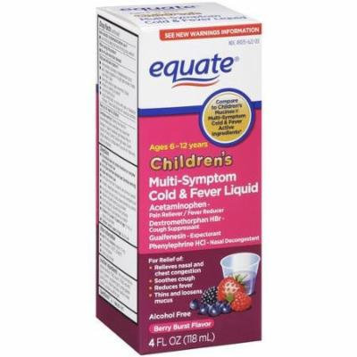Equate Children's Multi-Symptom Cold & Fever Berry Burst Flavor Liquid, 4 fl oz