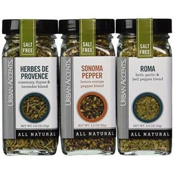 Urban Accents Salt Free Seasoning All Natural Gluten Free - Roma, Sonoma Pepper, Herbes de Provence