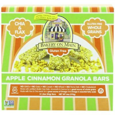 Bakery On Main Soft and Chewy Gluten Free Non-GMO Granola Bars, Apple Cinnamon, 5 Count (Pack of 3)