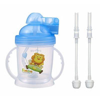 Simba Training Cup Bundle: 1 BPA Free Baby Training Cup w/ 360° Auto Straw (Blue, 6 oz) & 2 Training Cup Replacement Straws w/ Cleaning Brush