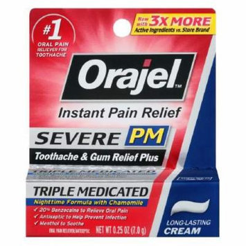 Orajel PM Toothache Pain Relief, Long Lasting Cream 0.25 oz Pack of 4