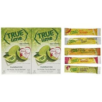 True Lime 32ct (2 pack). Plus Mini-Variety Pack of True Lemon Lemonade, Peach, Raspberry, Black Cherry, and Orange Mango. Natural Flavored Water Enhancer, Great beverage option for Paleo Diet, Adkin's Diet, and other healthly diet programs.