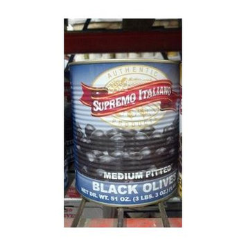 Supremo Italiano: Medium Pitted Black Olives 10# Can
