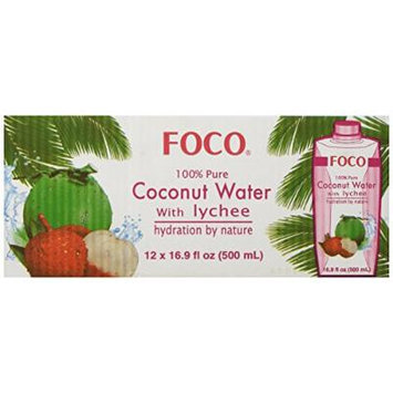 FOCO Pure Coconut Water with Lychee, 16.9 Ounce (Pack of 12)