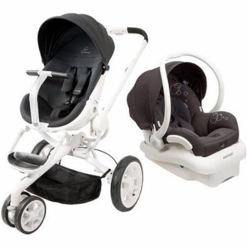 Quinny Moodd Stroller in Black Irony with 2015 Maxi-Cosi Mico Max 30 Infant Car Seat and Base, White/Black