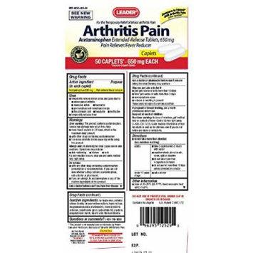 Leader Arthritis Pain Reliever 650mg Caplets 50 Count per Bottle (2 Bottles)