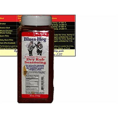 Blues Hog Barbeque BBQ Dry Rub Seasoning Large 26 oz (1.6 LB) Bottle with Complimentary Miniature Meat Smoking Guide Magnet Bundle