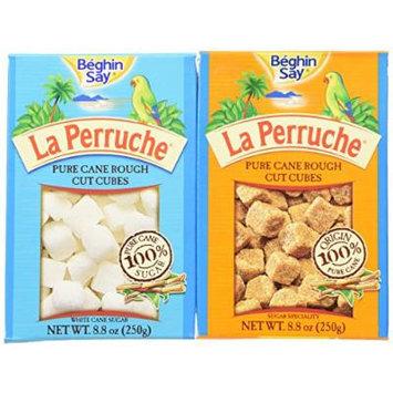 Béghin Say La Perruche Variety: One 8.8 oz Box Each of Rough Cut Brown Sugar Cubes and Rough Cut White Sugar Cubes