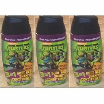Teenage Mutant Ninja Turtles 3 in 1 Shampoo + Conditioner + Body Wash Travel Size 2.5 Oz (Pack Of 3)