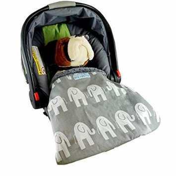Car Seat Blankie Elephants (Grey) - Universal Blanket for Car Seats, Beautiful Patterns, Handmade in USA.