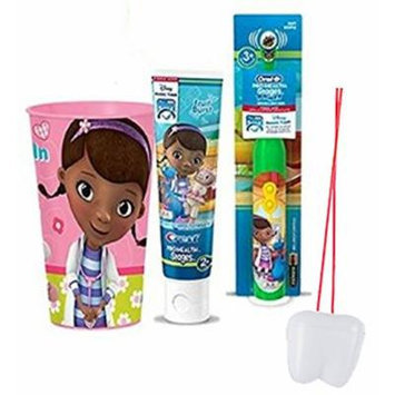 Doc McStuffins Inspired 3pc Bright Smile Oral Hygiene Set! (1) Doc Turbo Powered Toothbrush, Fruit Burst Toothpaste & Mouthwash Rinse Cup! Plus Bonus
