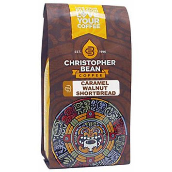 Christopher Bean Coffee Flavored Decaffeinated Ground Coffee, Caramel Walnut Shortbread, 12 Ounce