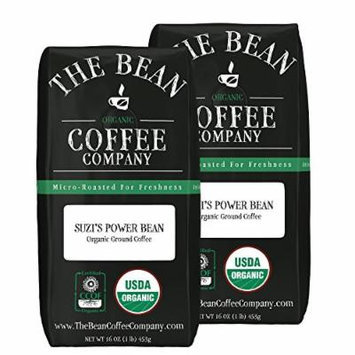 The Bean Coffee Company Suzi's Power Bean, Organic Ground, 16-Ounce Bags (Pack of 2)