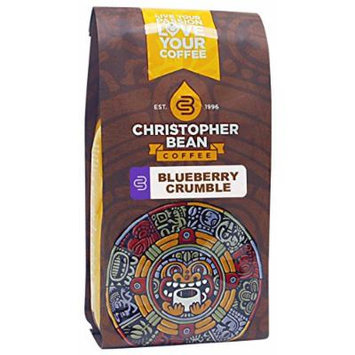 Christopher Bean Coffee Decaffeinated Whole Bean Flavored Coffee, Blueberry Crumble, 12 Ounce