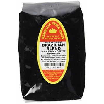 Marshalls Creek Spices Gourmet Whole Bean Coffee, Brazilian Blend, 12 Ounce