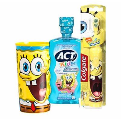 Colgate Powered Spongebob Squarepants Extra Soft Spin Powered Toothbrush & ACT Anticavity Kids' SpongeBob Mouthwash, 16.9 oz Plus Bonus Yellow Spongebob Mouth Wash Rinse Cup!