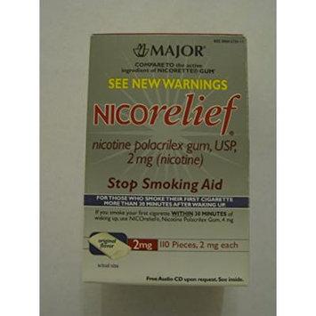 Nicorelief original flavor 2mg nicotine polacrilex gum stop smoking aid 110 pieces