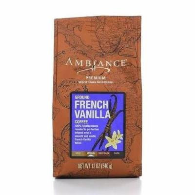 12oz Ambiance Premium Ground Coffee French Vanilla, Medium Roast, Pack of 1