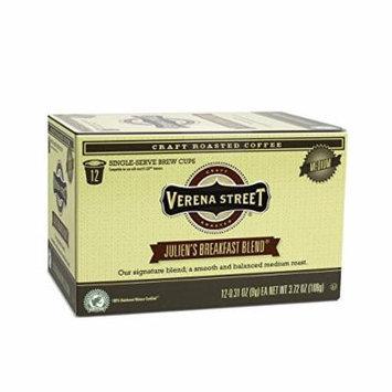 Verena Street Coffee Julien's Breakfast Blend medium roast coffee, Single Cup Capsule (36 Brew Cups), Rainforest Alliance Certified Single Serve Coffees, Fresh Craft Roasted Specialty Coffee