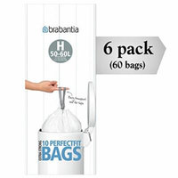Brabantia 246784 Type H Roll of 10 Bin Liners, Fits Bins of 50-60 Liter (Pack of 6 Rolls)