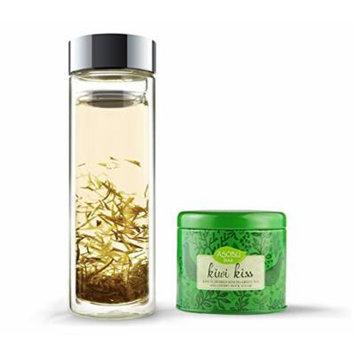 Asobu Double Wall Bottle with Kiwi Kiss Tea, 14-Ounce, Clear