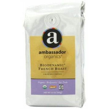 Ambassador Organics Biodynamic French Roast Ground Organic Coffee, 12-Ounce Bags (Pack of 2)