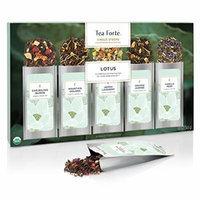 Tea Forté LOTUS Single Steeps Organic Loose Leaf Tea Sampler, 15 Single Serve Pouches - Black Tea, Green Tea, Oolong Tea, White Tea, Herbal Tea