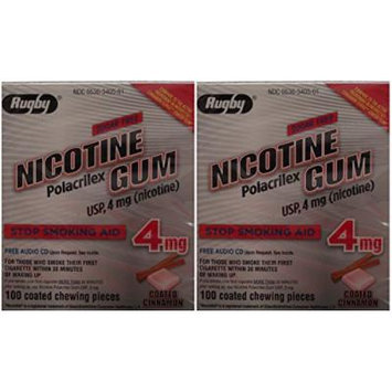 Nicotine Gum 4mg Sugar Free Coated Cinnamon Generic for Nicorette 100 Pieces per Box Pack of 2 Total 200 Pieces