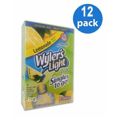 Wyler's Light LEMONADE Natural Flavors Soft Drink Mix Sugar Free 8 Sticks In Each Box (12 Pack) GL