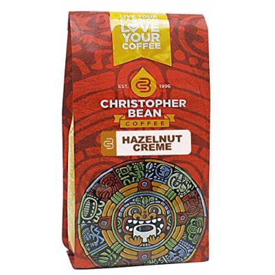 Christopher Bean Coffee Flavored Decaffeinated Ground Coffee, Hazelnut Creme, 12 Ounce