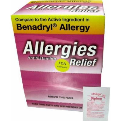 Diphenhydramine Hcl 25 Mg Allergy Medicine and Antihistamine Compare to Active Ingredient of Benadryl Allergy Generic, Dispenser 75 Pouches ( Travel Packs ) of 1 Tablet