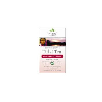 Organic India Organic Tulsi Tea, Pomegranate Green 18 ct (Pack of 4)