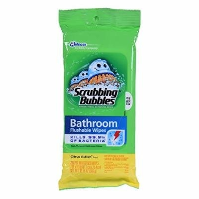 Scrubbing Bubbles Antibacterial Bathroom Flushable Wipes, 28 Count