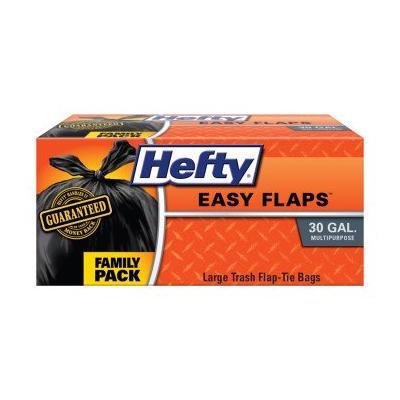 HEFTY TRASH BAGS LARGE 30 GAL EASY FLAPS 26 BAGS