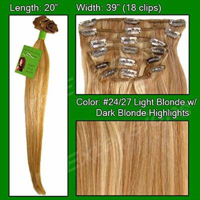 Pro Extensions #24/27 Medium Blonde w/ Dark Blonde Highlights- 20 inch Remi Set - 100% Human Hiar Extension Grade A+