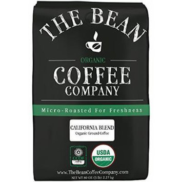 The Bean Coffee Company, California Blend Organic Ground Coffee, 5-Pound Bags