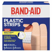 Band-Aid Plastic Brand Adhesive Bandages Plastic Strips, All One Size 60 ea