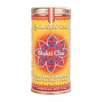 Bhakti Chai Yerba Mate Chai, Two Canisters, Each with 14 Pyramid Bags