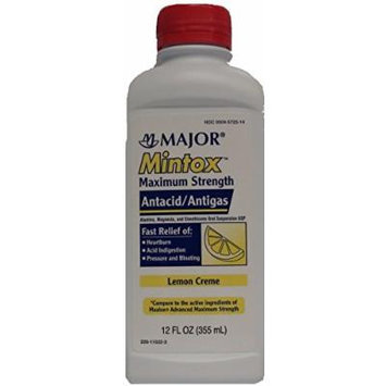 Mintox Maximum Strength Antacid Anti-Gas Liquid Generic for Maalox Max Lemon Flavor 12 oz Bottle