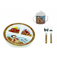 Sugarbooger Divided Plate, Sippy Cup, and Silverware Set-Yee Haw Cowboy