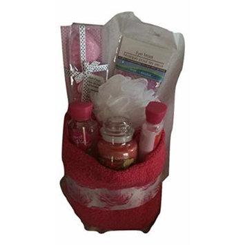Graduation Gift Spa Basket Soft Pink Towel, Candle, Bath Bomb, Eye Mask, Lotion, Bath Gel, and Relaxation Gift Set Bundle, - 7 pieces
