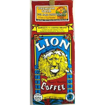 Hawaii's Lion Premium Gold 10% Kona Coffee Blend - Auto Drip Grind 7 Ounces