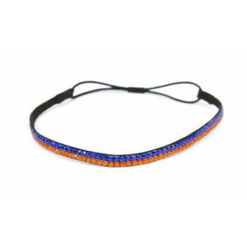 SIZZLE CITY Custom Color Bling Shimmering Rhinestone Elastic Stretch Headbands (Thin Orange/Blue)