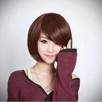 Generic Korean Short Hair Women Bobo Head Fluffy Wig Fashion Straight Tilted Frisette Style Wig