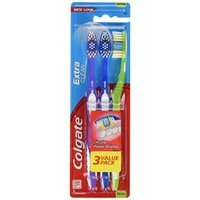 Colgate Extra Clean Toothbrush, Medium, 3 Count