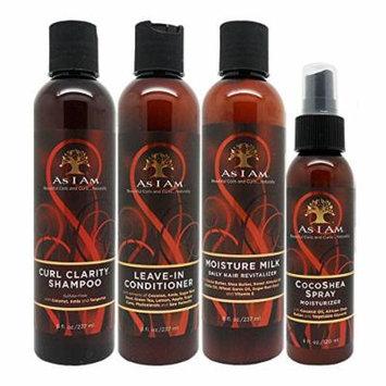 As I Am Curl Clarity Shampoo & Leave-in Conditioner & Moisture Milk 8oz & Coco Shea Spray 4oz